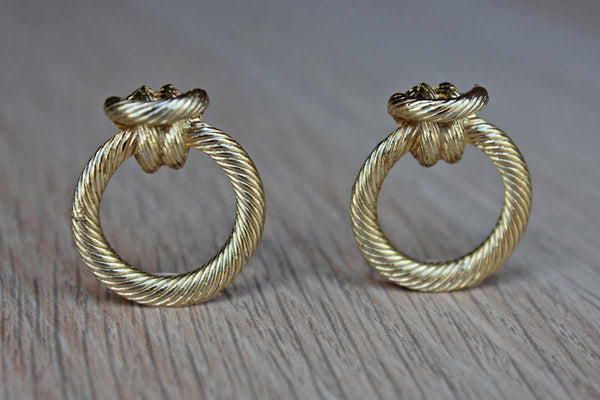 Gold Knotted Rope-Shaped and Textured Pierced Earrings