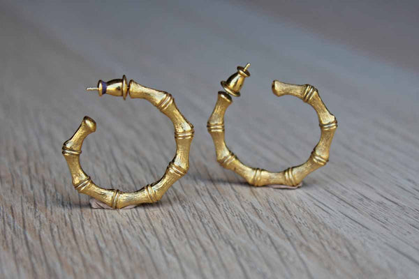 Gold Tone Bamboo Hoop Pierced Earrings