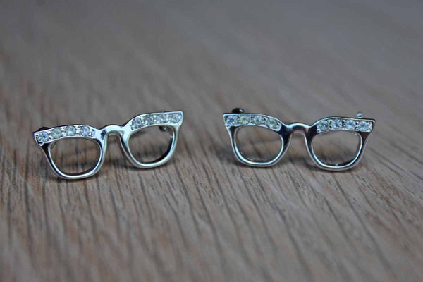 Cat Eye Glasses with Silver Rhinestones Scatter Pins, A Pair