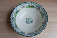 PV (France) Large Ceramic Bowl with Transferware Images of Pheasants and Flowers