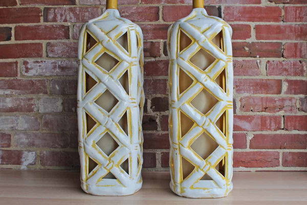 Fabulous Large White and Yellow Ceramic Bamboo Lamps, A Pair