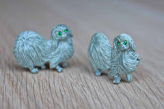 Painted Metal Gray Pekingese Dog Scatter Pins with Green Rhinestone Eyes, A Pair