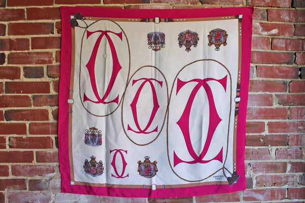 Cartier (Paris) 100% Silk Scarf Decorated with Ropes and Tassels and Cartier Logo