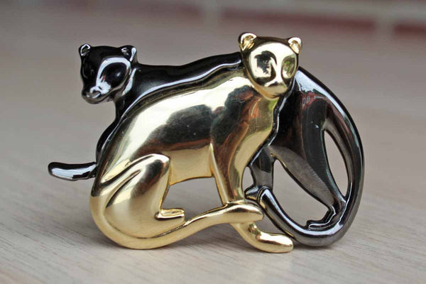 Liz Claiborne (New York, USA) Dark Silver and Gold Tone Brooch of Two Cats