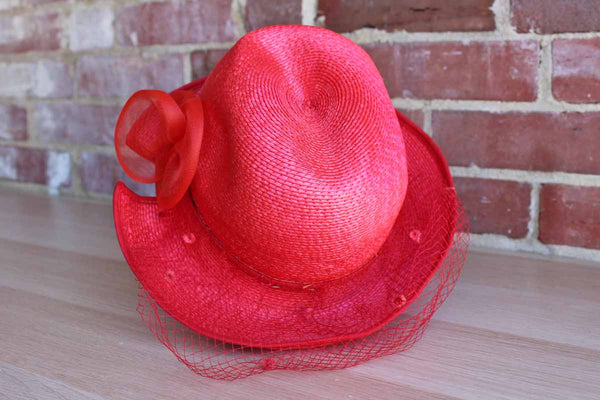 Styled by Coralie Hot Pink Straw Fedora with Chiffon Flower and Matching Veil