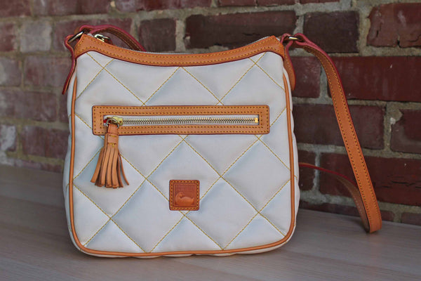 Dooney & Bourke (Connecticut, USA) White Quilted and Tan Leather Crossbody or Shoulder Bag