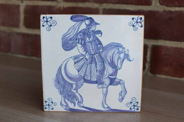 Ceramica de Conimbriga (Portugal) Blue and White Tile Decorated with a Man on a Horse