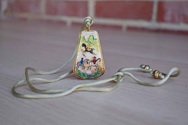 Ceramic Pendant with Hand-Painted Horseback Riders