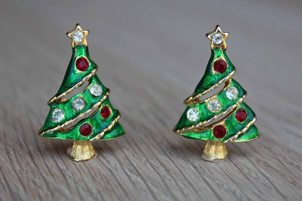 Gold Tone Green Enameled Christmas Tree Pierced Earrings with Silver and Red Rhinestones