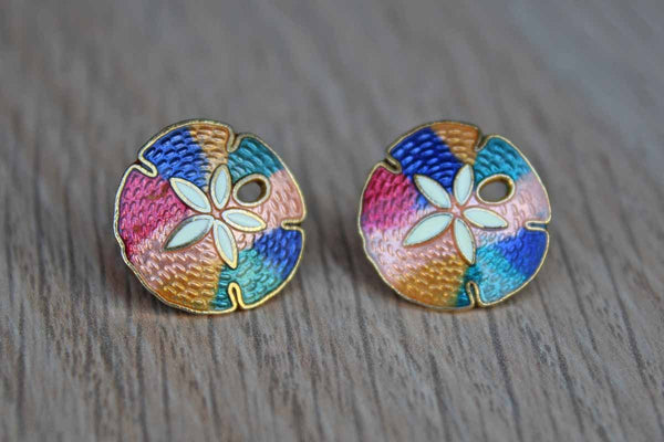 Colorfully Enameled Sand Dollar-Shaped Pierced Earrings