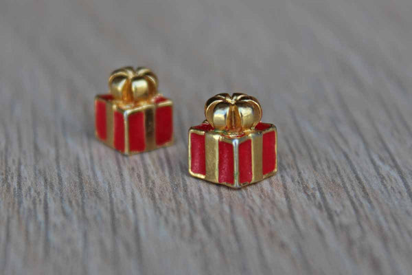Gold and Red Pierced Earrings Shaped Like Gift Wrapped Presents