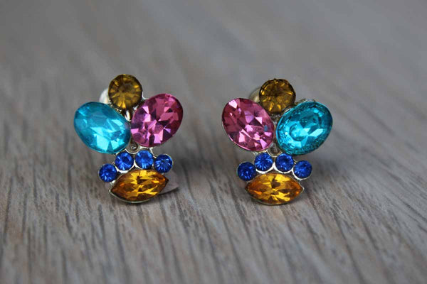 Colorful Flower Shaped Rhinestone Non-Pierced Earrings
