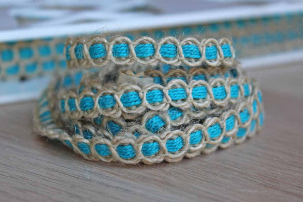 St. Louis Trimming (Missouri, USA) Turquoise and Natural Jute Trimming, Priced Per Yard