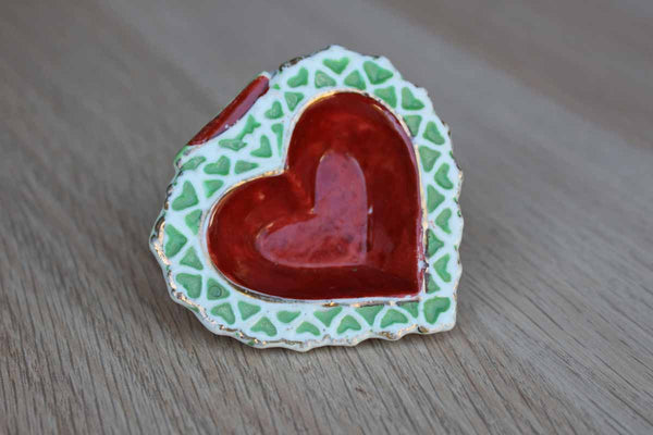 Heart Shaped Porcelain Trinket Dish, Made in Occupied Japan