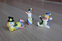 Three Colorful Porcelain Clown Figurines