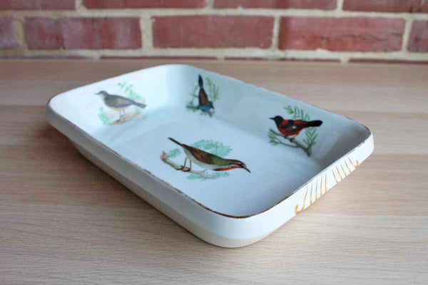 Louis Lourioux (France) Le Faune Porcelain Rectangular Baking/Serving Dish Decorated with Colorful Birds on Branches