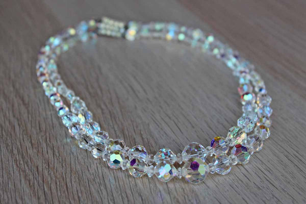 Aurora Borealis Crystal Bead Double Strand Choker Necklace with Silver Rhinestone Box Clasp