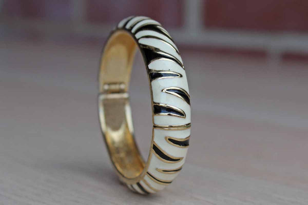 Enameled Black and White Zebra Stripe Bracelet