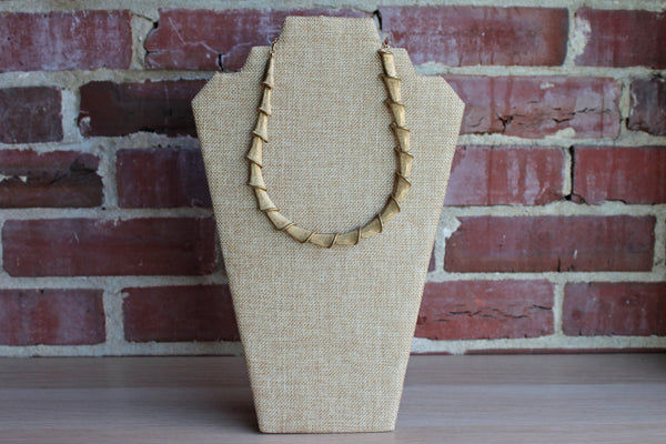 Gold Tone Modernist Shell Inspired Necklace