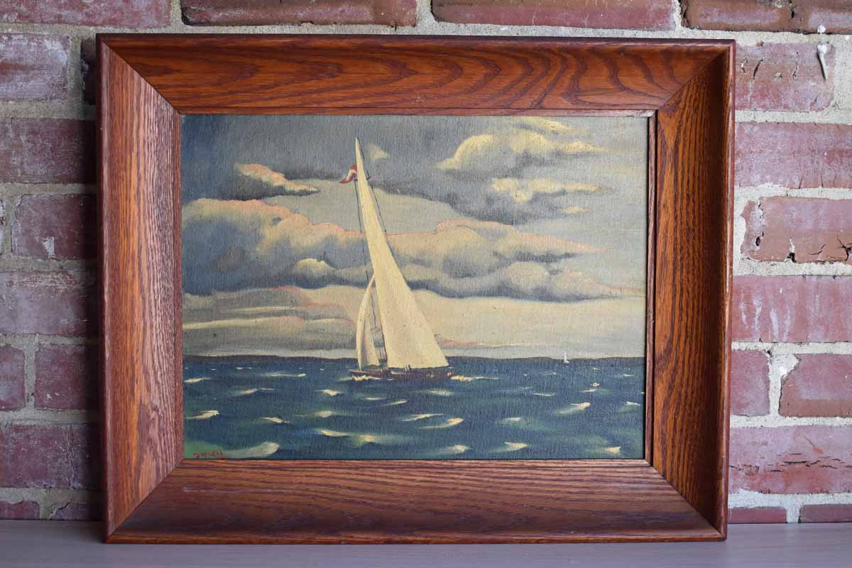 Original Painting on Canvas Panel of a Sailboat on a Cloudy Windy Day