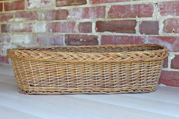 Long Woven Oblong Basket with Braided Rim