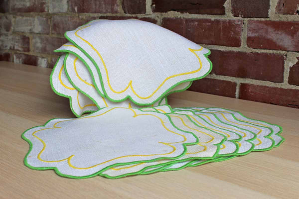 Small Linen Placemats with Green and Yellow Embroiderent Edges, 11 Pieces