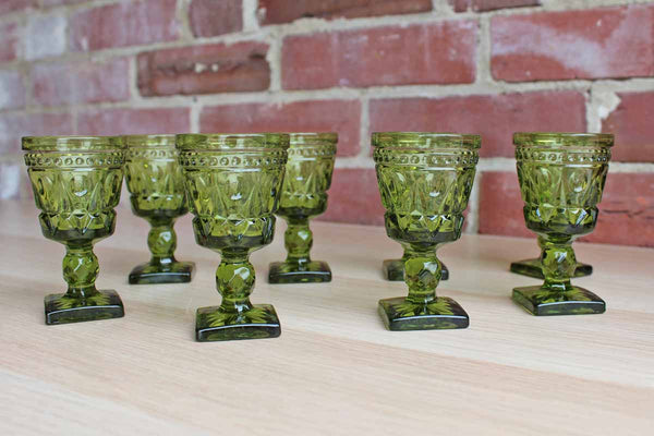 Colony Glass (Connecticut, USA) Park Lane Green Cordial Glasses, 8 Pieces