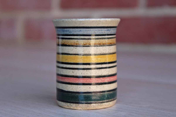 Dedza Pottery (Malawi, Africa) Small Stoneware Vessel with Colorful Horizontal Stripes