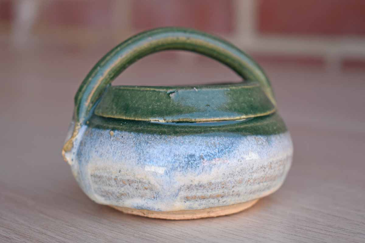 Small Green Stoneware Handled Bowl