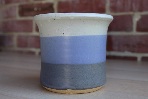 Handmade Stoneware Storage Vessel with Blue and Gray Stripes