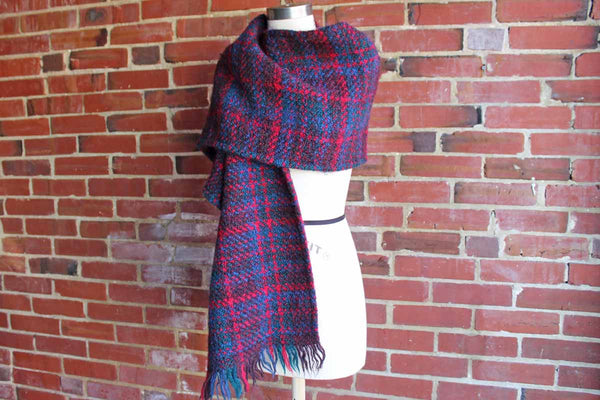 Weave O' the Irish Tapestries (Ireland) Long and Wide Knitted Red, Blue, and Green Shawl