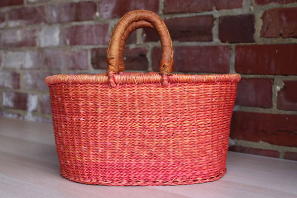 Red Weaved Basket with Leather Handles