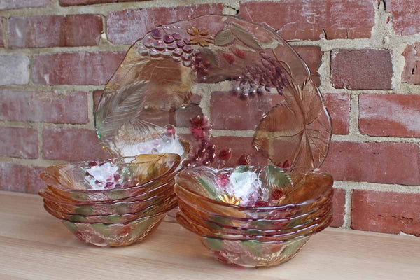 Savoir Vivre (Japan) Wild Orchard Flowers, Leaves, and Fruit Decorated Glass Bowl Serving Set