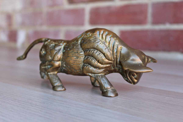 Brass Charging Bull Figurine with Aged Patina