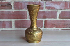 Sarna (India) Flower Etched Brass Vase with Tall Flaring Neck
