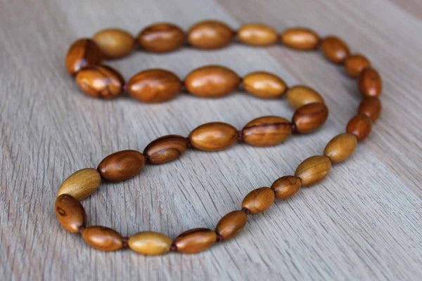 Hand Carved Wooden Bead Necklace