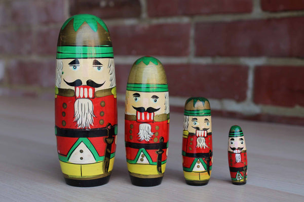 Little wood Nutcracker Nesting Dolls