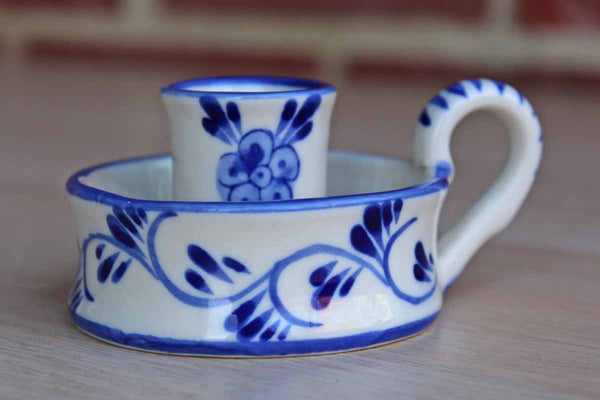 Delft (Holland) Little Porcelain Chamberstick with Cobalt Blue Flowers