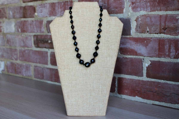 Black Faceted Glass Bead Graduated French Jet Necklace
