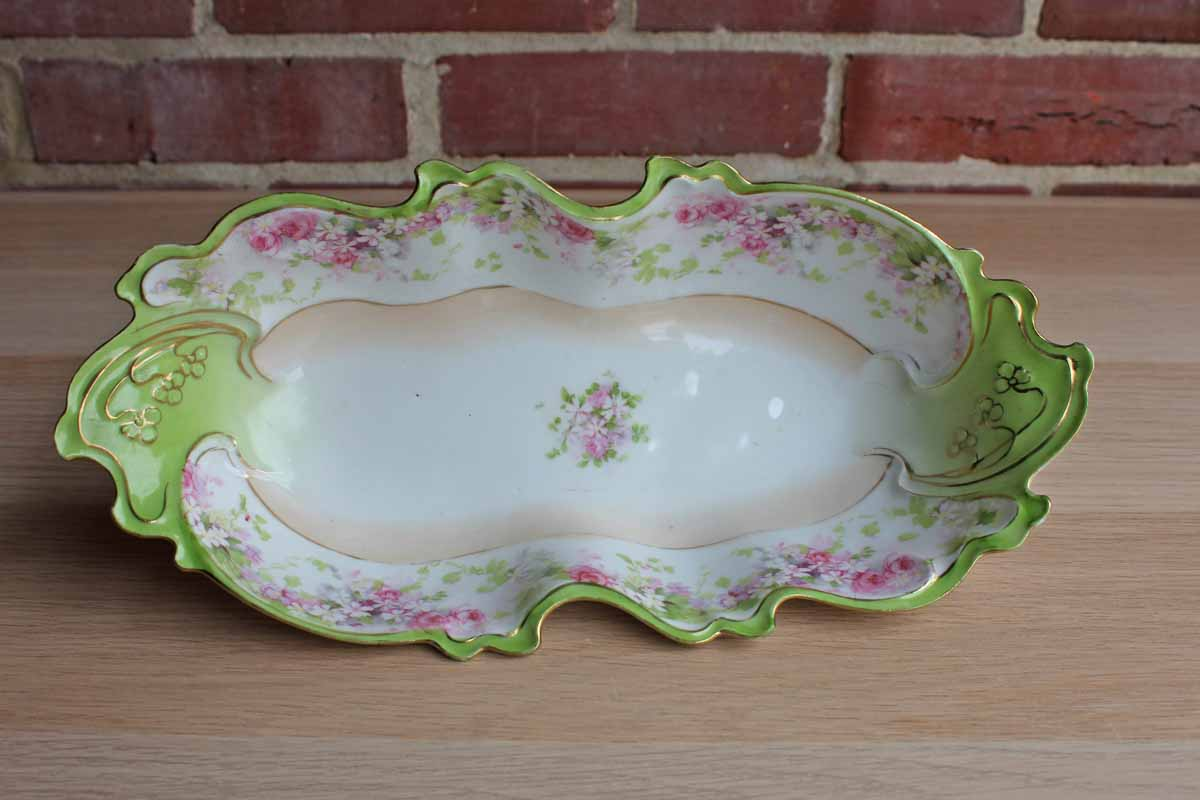 Austrian Pink and Green Decorated Porcelain Bowl with Flowers and Gilding