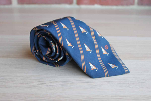Gucci (Italy) 100% Silk Necktie with Windsails and Diagonal Stripes on Navy Blue Background