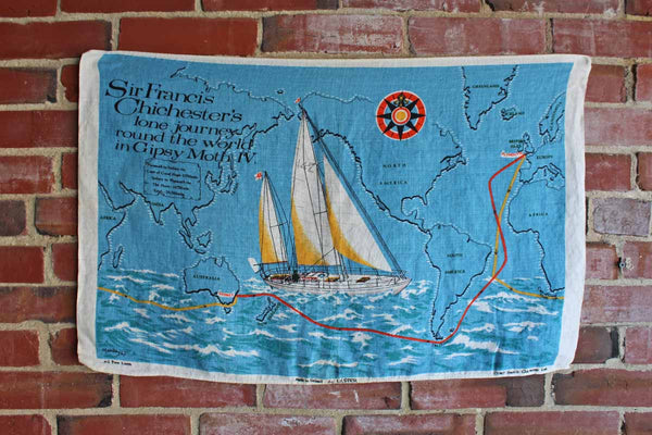 Ulster Weavers (Ireland) Pure Linen Tea Towel Decorated with Depiction of Sir Francis Chichester's World Voyage