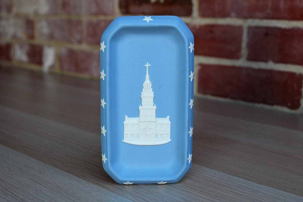Wedgwood (England) Blue Jasperware Rectangular Tray Decorated with Independence Hall in White Relief