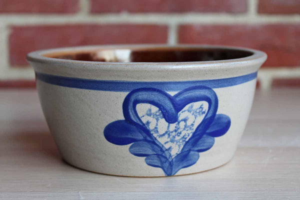 Beaumont Brothers Pottery (Ohio, USA) 1991 Small Stoneware Dish with Blue Heart
