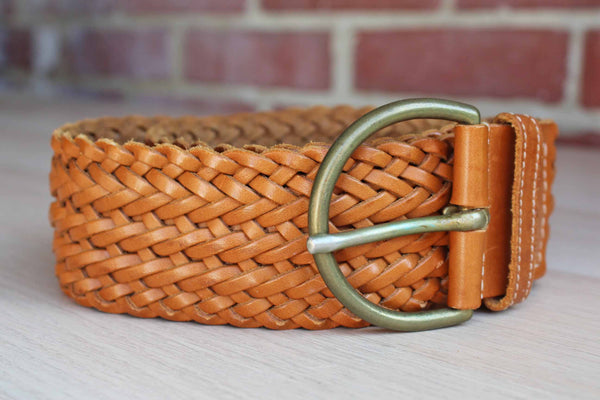 Hand Plaited Honey Tan Leather Belt, Made in England