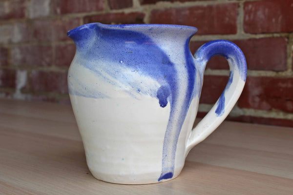 1990 Handmade Stoneware Pitcher with Blue and White Glaze