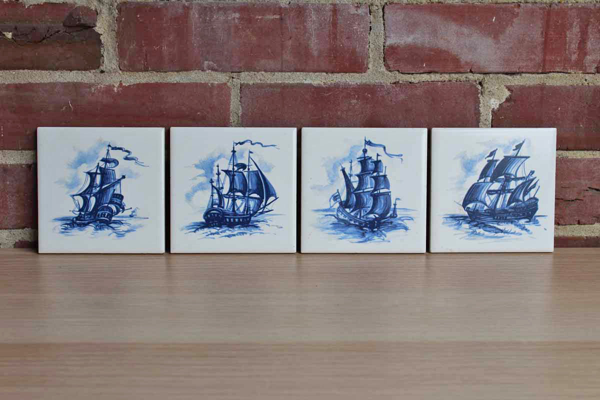 Ceramic Tiles Decorated with Blue Transferred Images of Ships, Set of 4