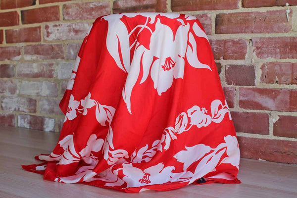 Ellen Tracy 100% Silk Red and White Floral Scarf