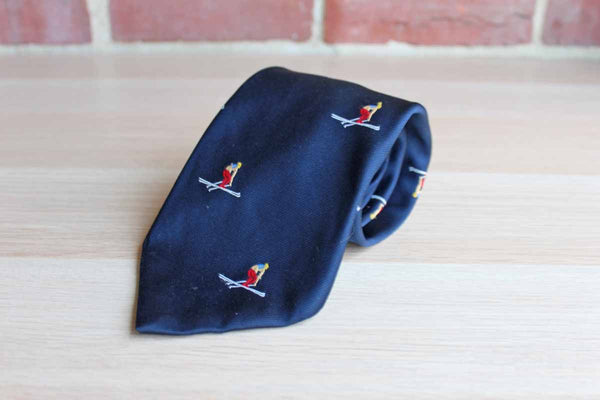 Polyester Necktie Decorated with Repeating Pattern of Colorful Racing Alpine Skiers