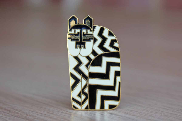 "Laurel Burch (California, USA) ""Gregorio"" the Black and White Striped Cat Brooch"